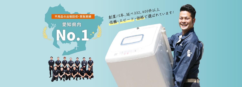 不用品の出張回収・買取実績 愛知県内No.1 創業15年、延べ332,400件以上 信頼・スピード・価格で選ばれています