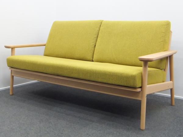 karimoku カリモク 2人掛椅子 平織布張長椅子 グリーン ブナ WD4303UE 置クッション式